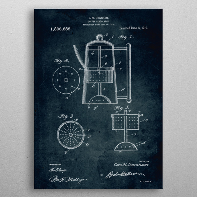No249 - 1917 - Coffee percolator - Inventor C. M. Downham metal poster