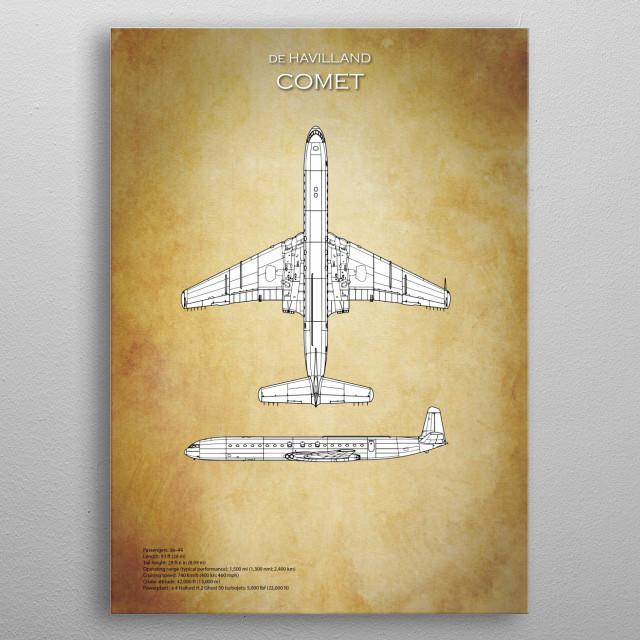 De havilland comet blueprint by airpower art metal posters displate de havilland comet blueprint metal poster malvernweather Choice Image