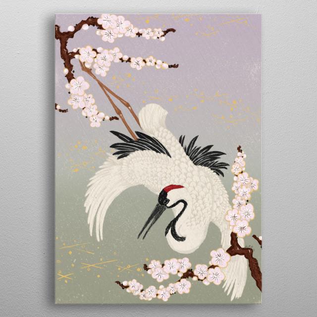 Japanese Crane metal poster
