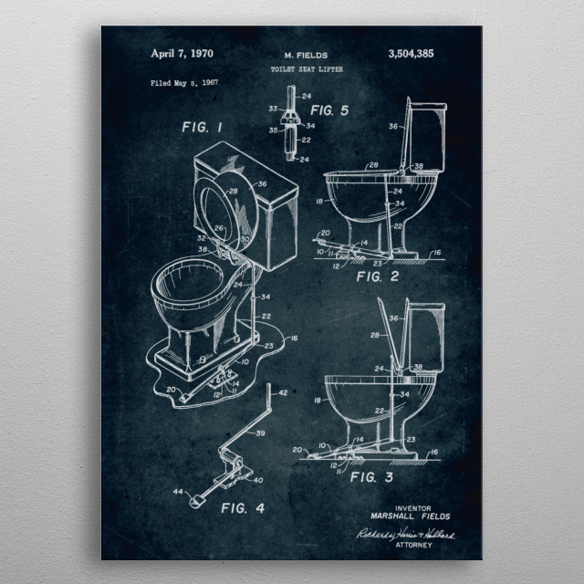 No276-1967-Toilet seat lifter-Inventor M. Fields metal poster