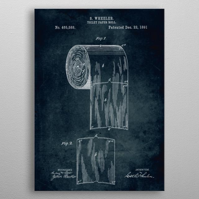 No270 -1891 - Toilet paper roll - Inventor Wheeler metal poster