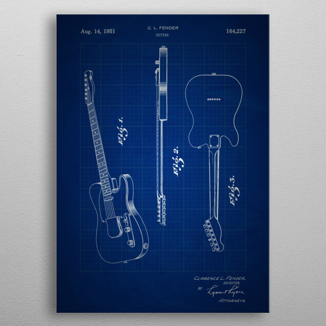 Guitar - Patent #164,227 by C. L. Fender - 1951 metal poster