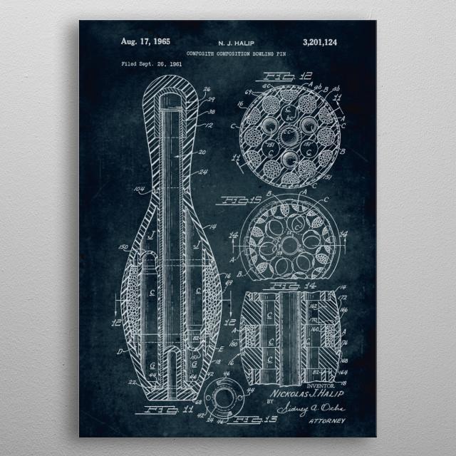 No283-1961-Composition bowling pin-Halip metal poster