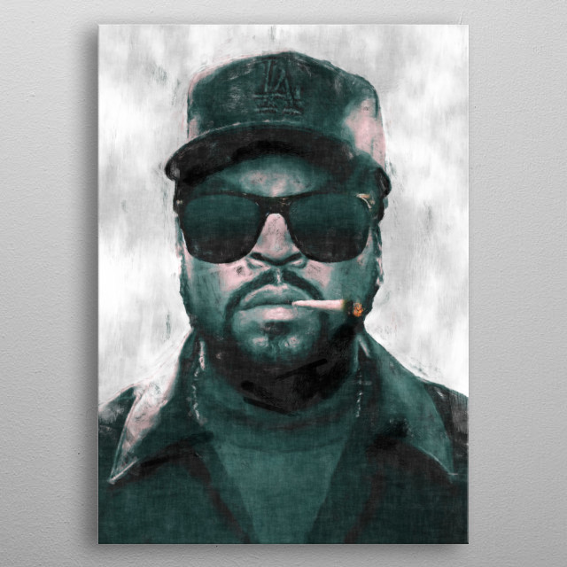 Ice Cube with joint sketch  metal poster