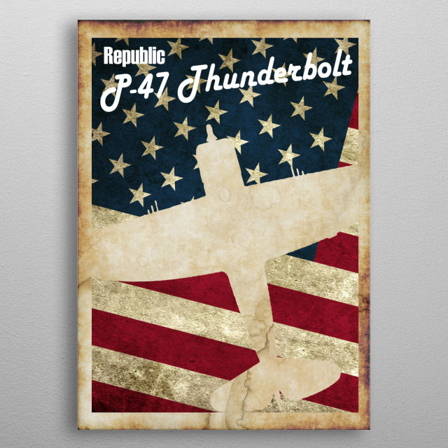 P-47 Thunderbolt vintage style poster metal poster