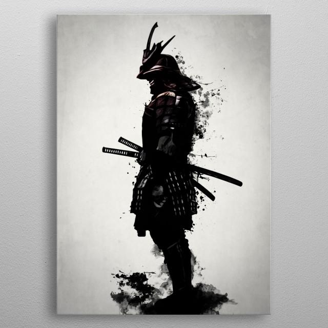 Armored Samurai - Mirrored metal poster