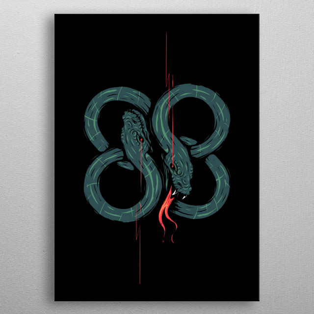Twinhead snakes metal poster