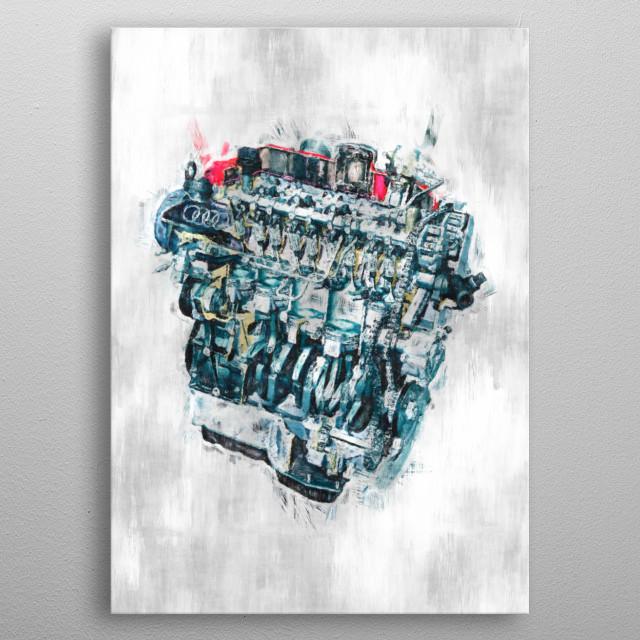 Audi engine sketch metal poster