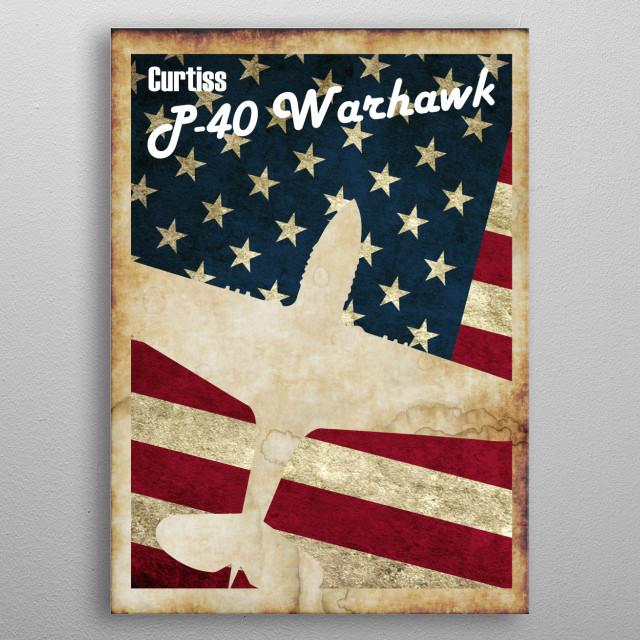 P40 Warhawk vintage WW2 poster by Airpower Art | metal