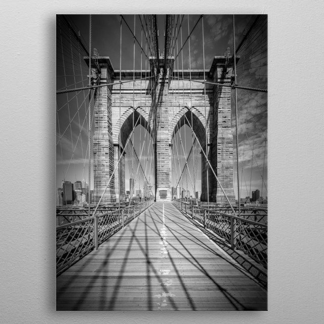 Brooklyn Bridge connects Manhattan and Brooklyn. Beautifully architectural cityscape with it's steel cable construction in detail. metal poster