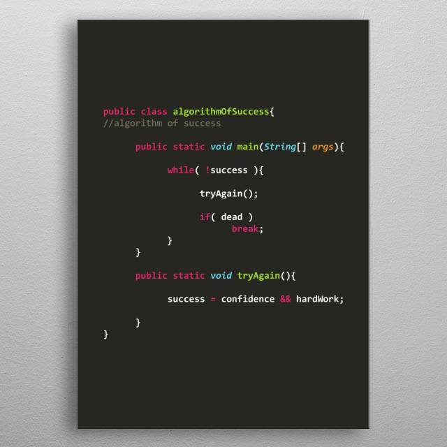 Programmer poster Algorithm of Success in java metal poster