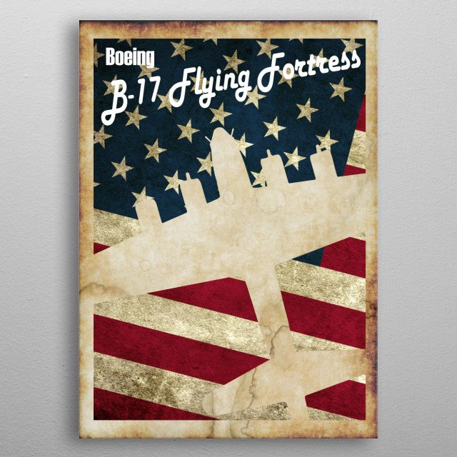 Vintage style WW2 B-17 Flying Fortress poster metal poster