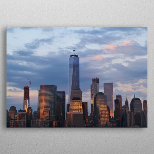 NYC Skyline at Dusk metal poster