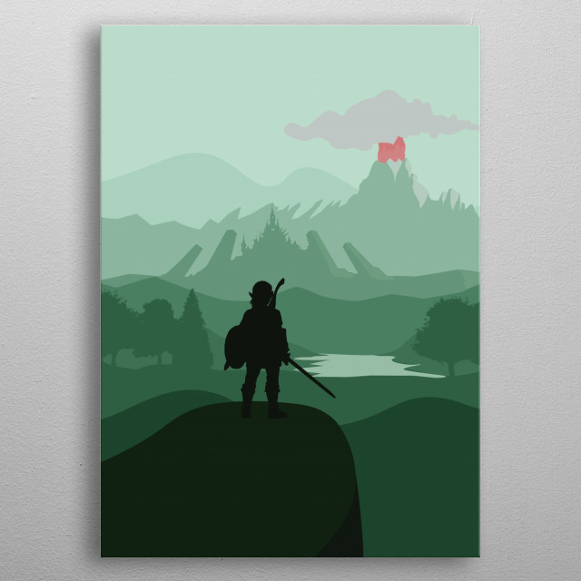 Zelda - Breath Of The Wild - Flat Landscape Design metal poster