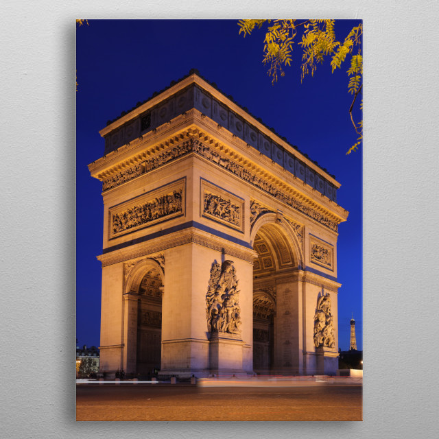 Arc de Triomphe at beautiful evening lightning metal poster