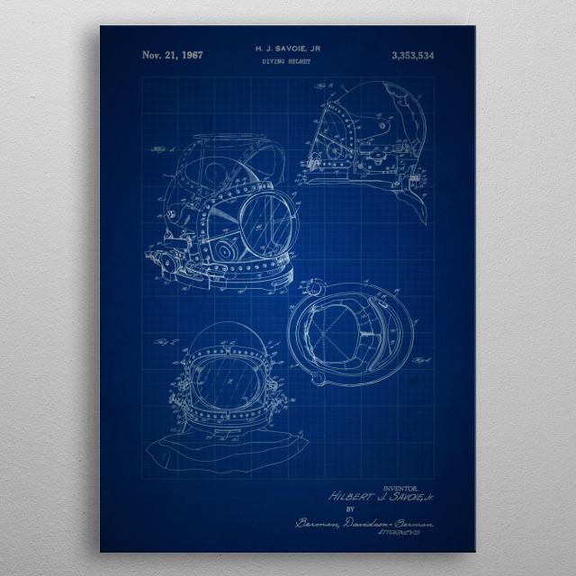 Diving Helmet - #3,353,534 by HJ Savoie Jr. - 1895 metal poster