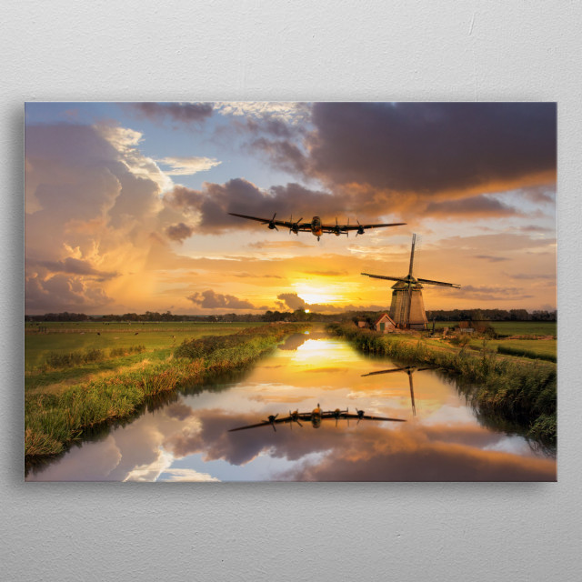 RAvro Lancaster Bomber over the Dutch Windmills metal poster