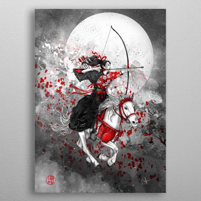 Horse and Rider - Yabusame metal poster