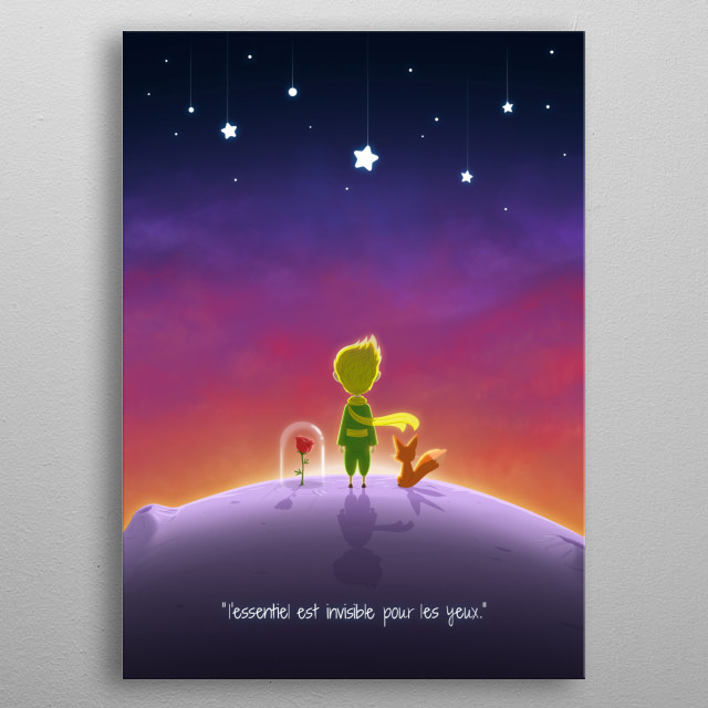 """L'essential."" The little Prince - FRENCH VERSION metal poster"