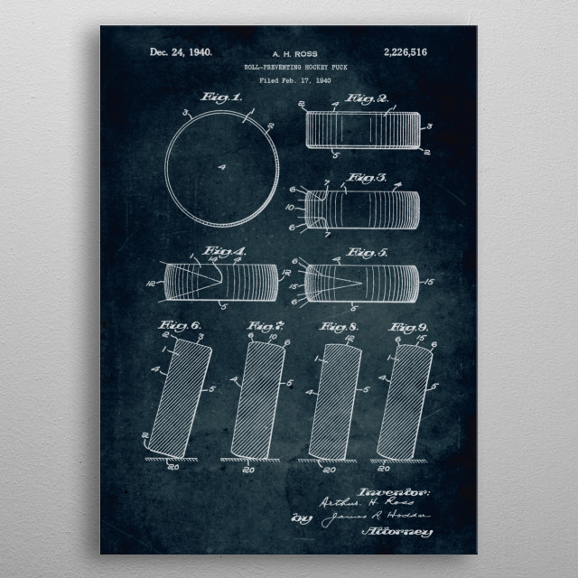 No306- 1940 - Roll preventing hockey puck - Ross metal poster