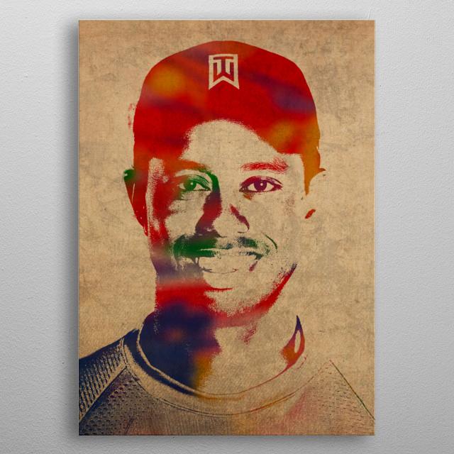 Tiger Woods Golfer Watercolor Portrait metal poster