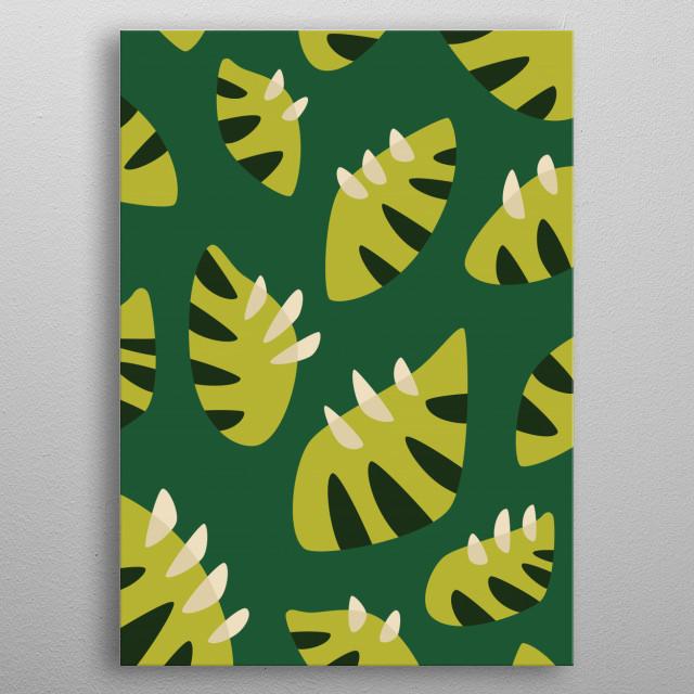 Green leaf pattern made of vector illustration of  metal poster