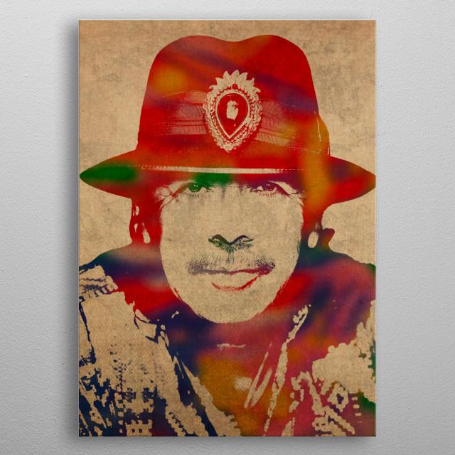 Santana Guitar Legend Watercolor Portrait metal poster