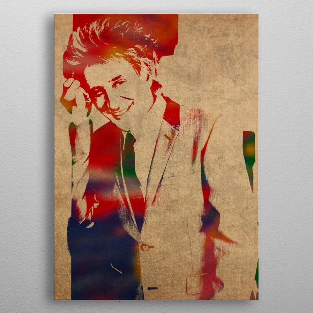 Rod Stewart Watercolor Portrait metal poster