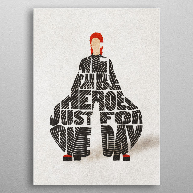 David Bowie Typographic and Minimalist Art metal poster
