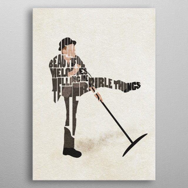 Tom Waits Typographic and Minimalist Art metal poster