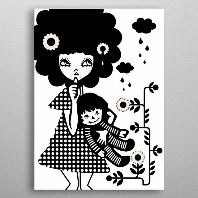 Little Girl with a Doll in her hands metal poster