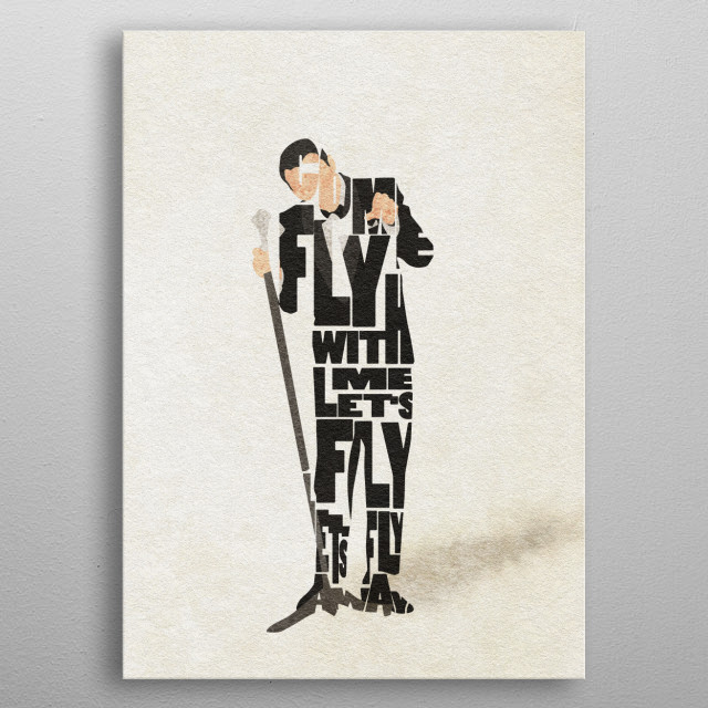 Frank Sinatra Typographic and Minimalist Art metal poster