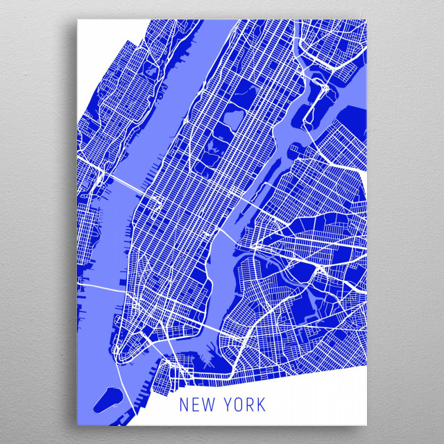 New York Map Electric Blue metal poster
