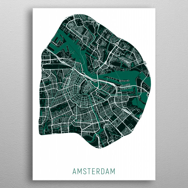 Amsterdam Map Green metal poster