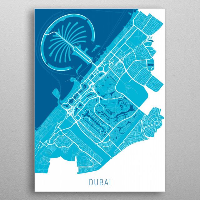 Dubai Map Blue metal poster
