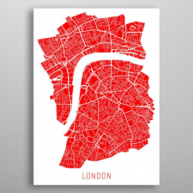 London Map Red metal poster