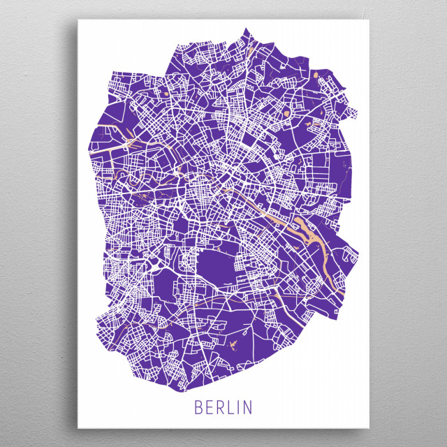 Berlin Map Purple metal poster