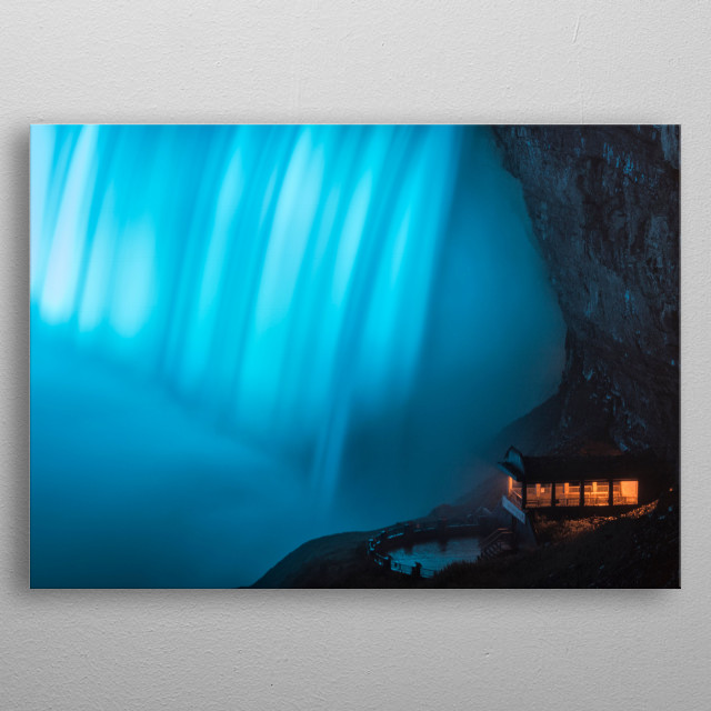 The Viewpoint under the Falls metal poster