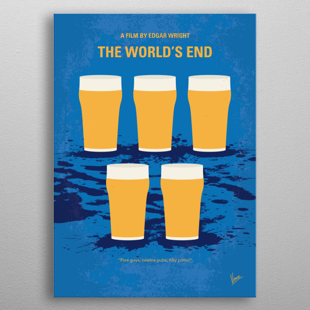 No843 My The Worlds End minimal movie poster metal poster