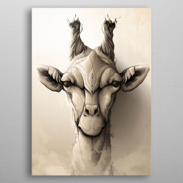 Giraffe metal poster