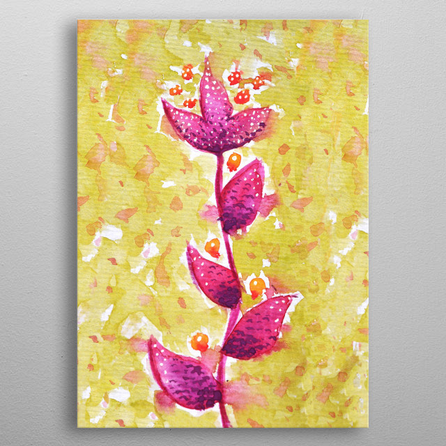 Abstract watercolor floral illustration of a loose metal poster