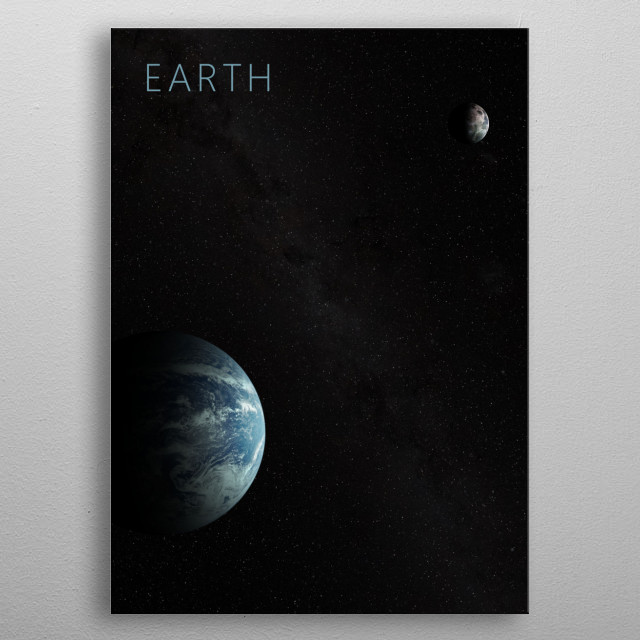 Earth and The Moon metal poster
