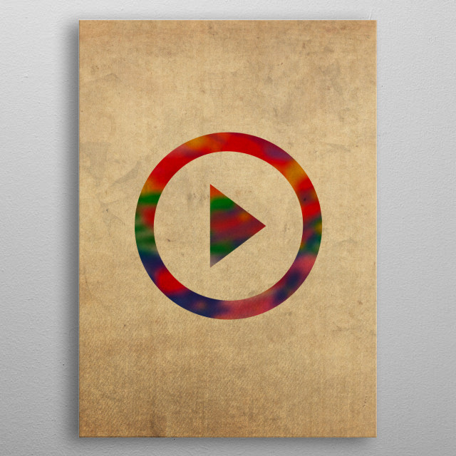 Play Button Symbol in Watercolor metal poster