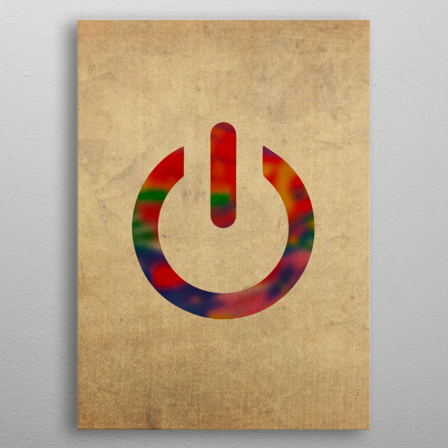 Power Button Symbol in Watercolor metal poster