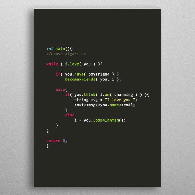Programmer poster Crush Algorithm metal poster