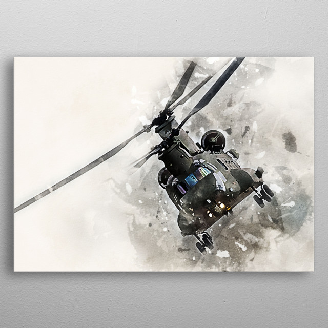 CH-47 Chinook Helicopter Painting metal poster