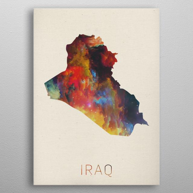 Iraq Watercolor Map metal poster