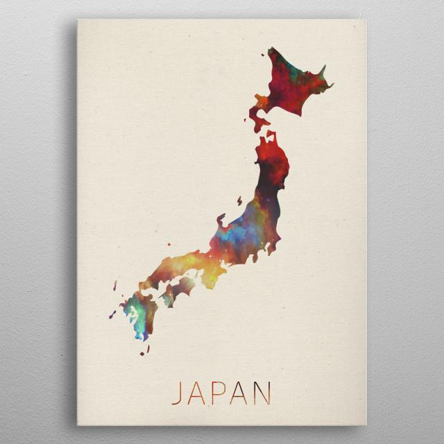Japan Watercolor Map metal poster