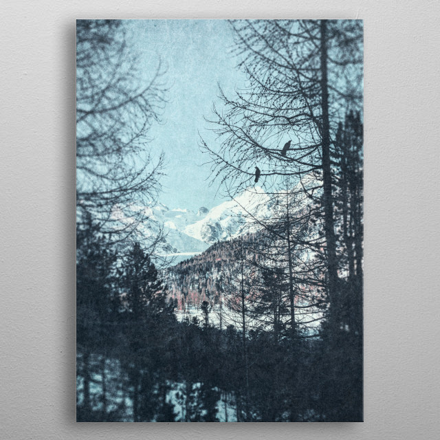 distant mountains metal poster