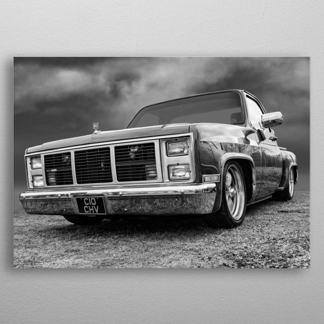 Black and white of a 1985 Chevy C10 Flareside  metal poster